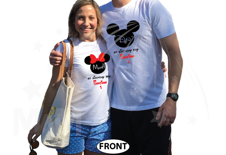 Dad and Mom Of Birthday Boy (Girl) With Child's Name and Age married with mickey white tees