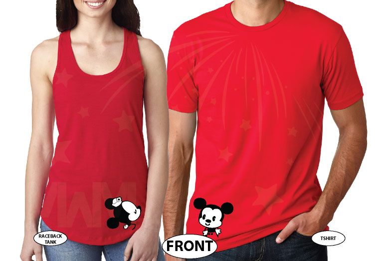 His Hers Mickey Minnie Mouse Kissing married with mickey red tee and tank