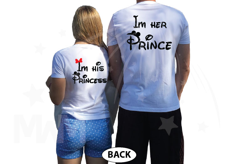 Mickey Minnie Mouse Kissing I'm His Princess I'm Her Prince married with mickey white tshirts