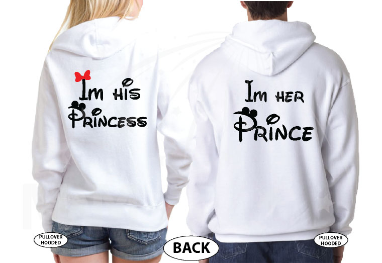 Mickey Minnie Mouse Kissing I'm His Princess I'm Her Prince married with mickey white sweaters