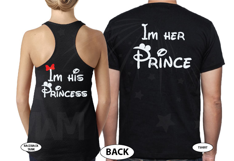 Mickey Minnie Mouse Kissing I'm His Princess I'm Her Prince married with mickey black tee and tank