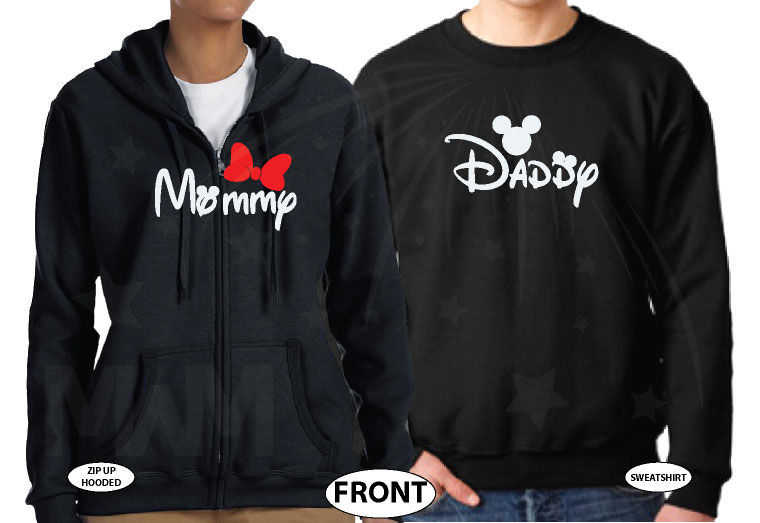 Daddy and Mommy Disney Family Shirts married with mickey black hoodies