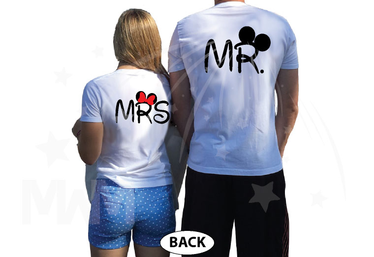 Cute Matching Married Couple Shirts For Mr Mrs Mickey Mouse Head Minnie Mouse Head married with mickey white tees