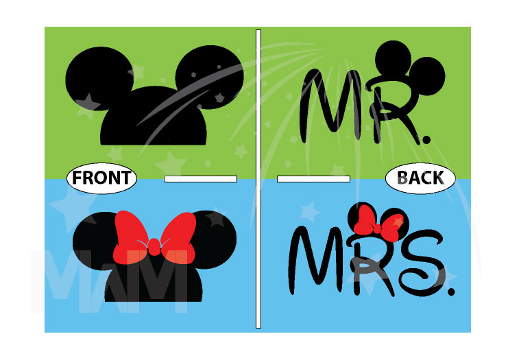 Cute Matching Married Couple Shirts For Mr Mrs Mickey Mouse Head Minnie Mouse Head married with mickey