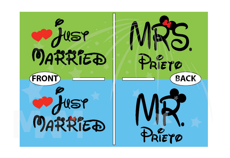 Just Married Mr Mrs With Custom Last Name married with mickey