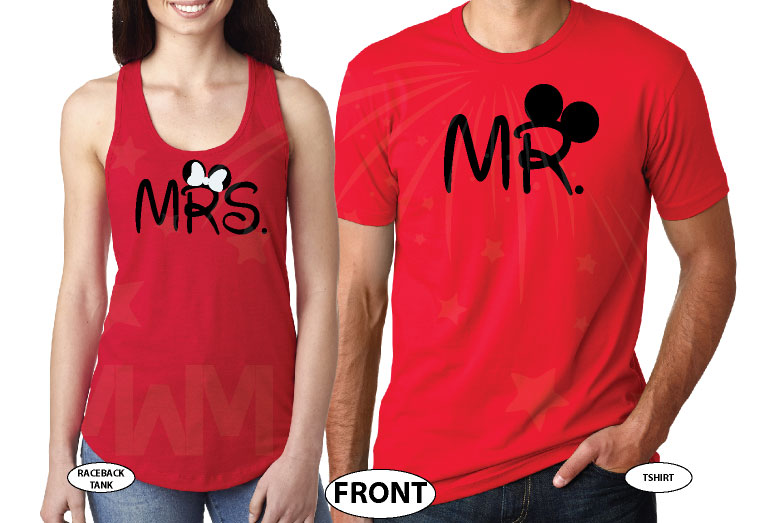 Mrs Mr His Princess Her Prince With Wedding Date Mickey's Hands In Heart Shape married with mickey mwm red tshirts