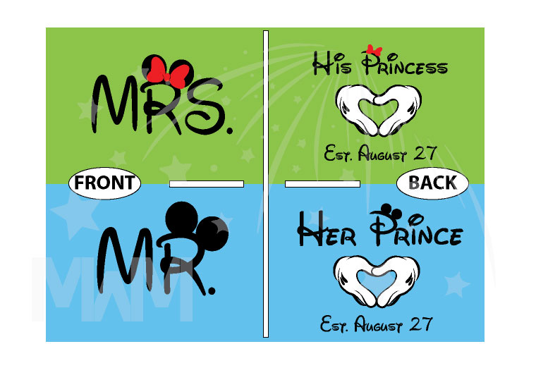 Mrs Mr His Princess Her Prince With Wedding Date Mickey's Hands In Heart Shape married with mickey mwm