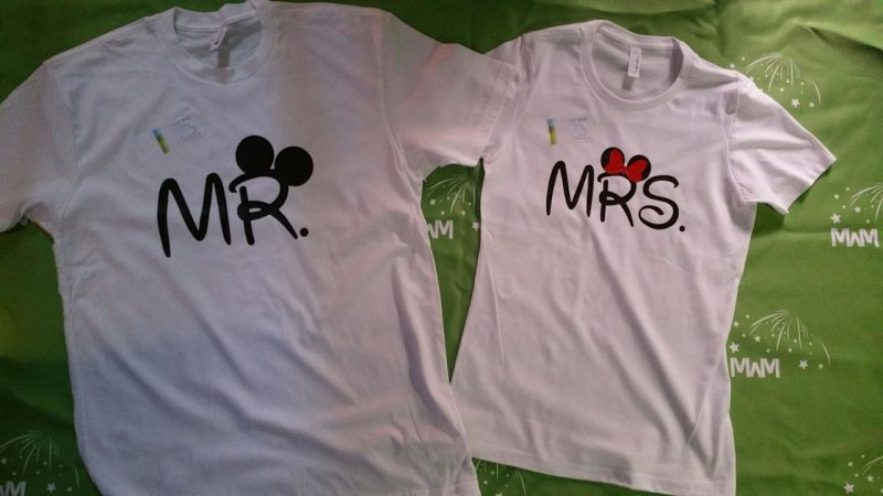 Super cute matching couple tees for Mr and Mrs Mickey Minnie Mouse big ears Her Prince His Princess hands in heart shape wedding date etsy, married with mickey, white tees