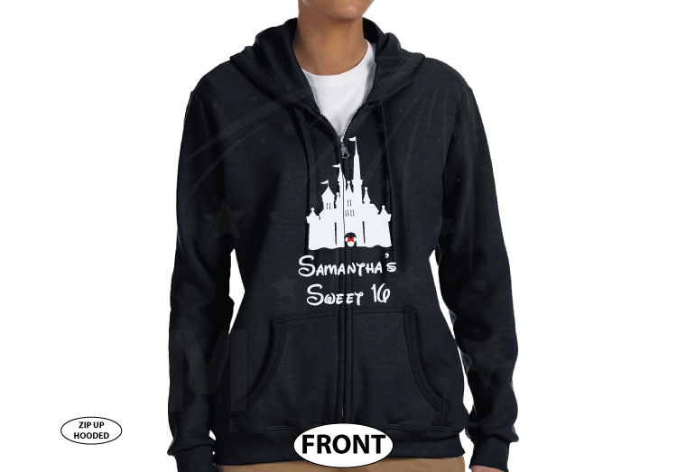 Sweet 16 Shirt With Disney Castle And Custom Name married with mickey black zip up