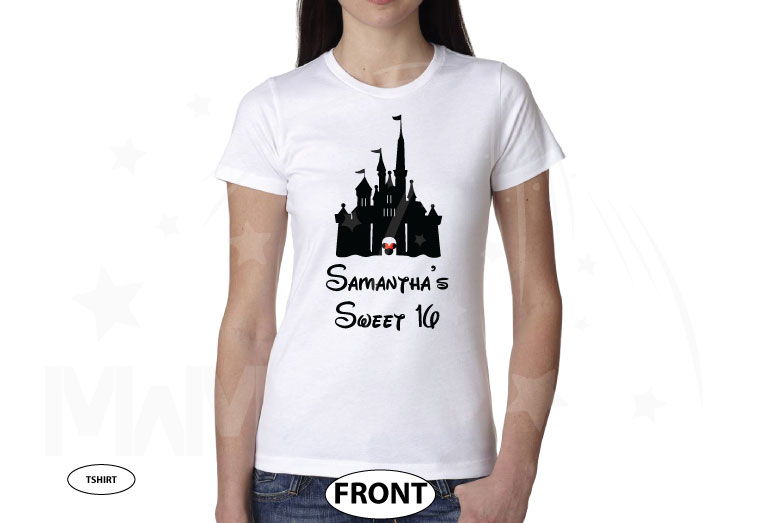 Sweet 16 Shirt With Disney Castle And Custom Name married with mickey white tshirt