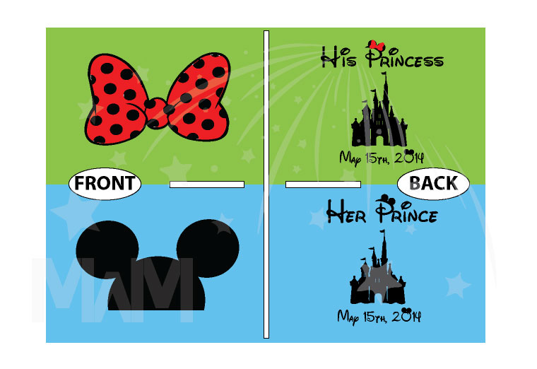 Her Prince His Princess Disney Cinderella Castle Custom Date Minnie Bow Mickey Head married with mickey