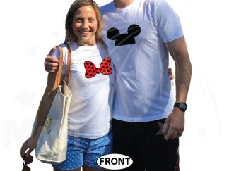 Her Prince His Princess Disney Cinderella Castle Custom Date Minnie Bow Mickey Head married with mickey white tshirts