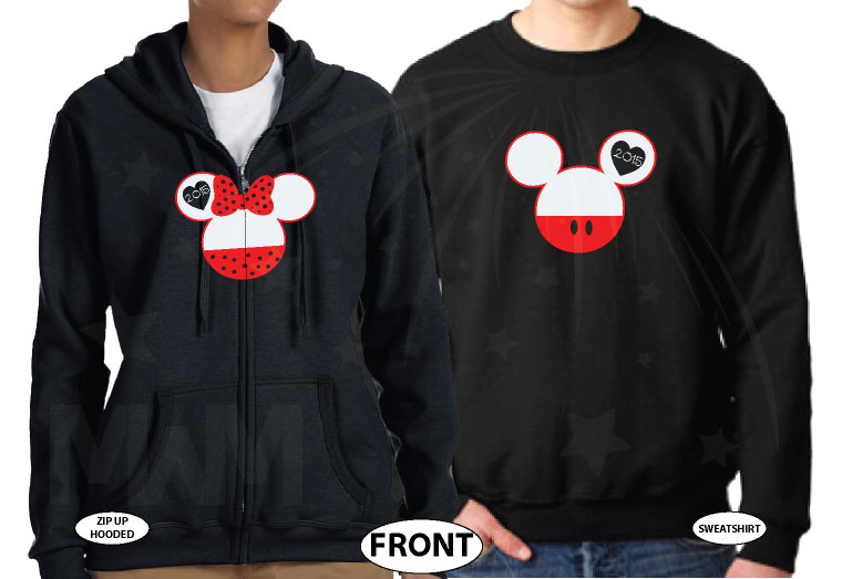 His Hers Mickey Minnie Mouse Head With Custom Names Or Date In Ears married with mickey black hoodies