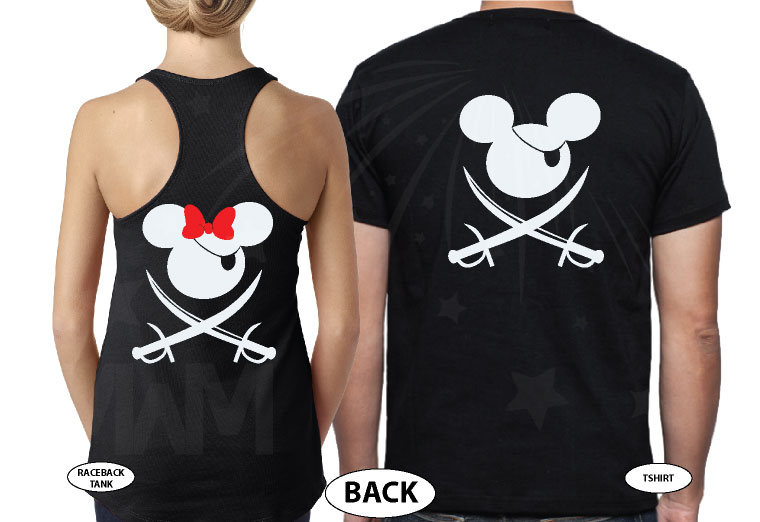Mickey Minnie Mouse Cute Pirate Couple Shirts Hubby Wifey married with mickey black tshirts