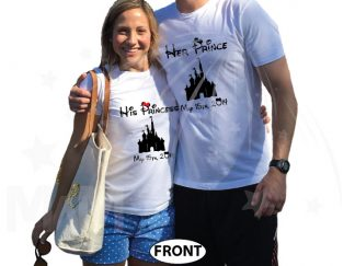 Her Prince His Princess With Disney Cinderella Castle Wedding Date married with mickey white tshirts