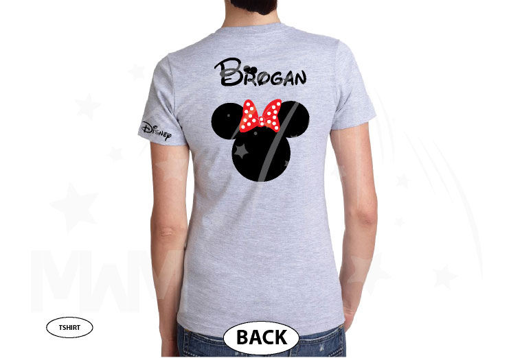 Disney Minnie Mouse Red Polka Dot Cute Bow Shirt With Custom Name married with mickey grey tshirt