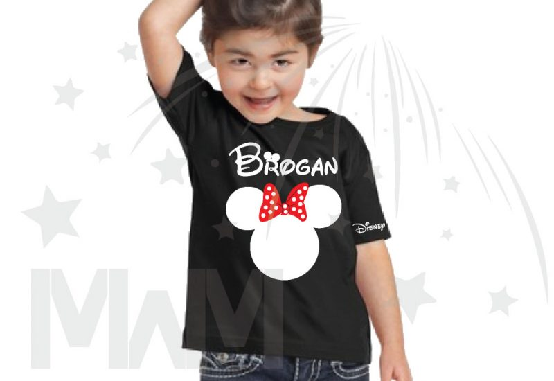 Disney Minnie Mouse Red Polka Dot Cute Bow Or Mickey Mouse Head Shirt With Custom Name married with mickey black tshirt