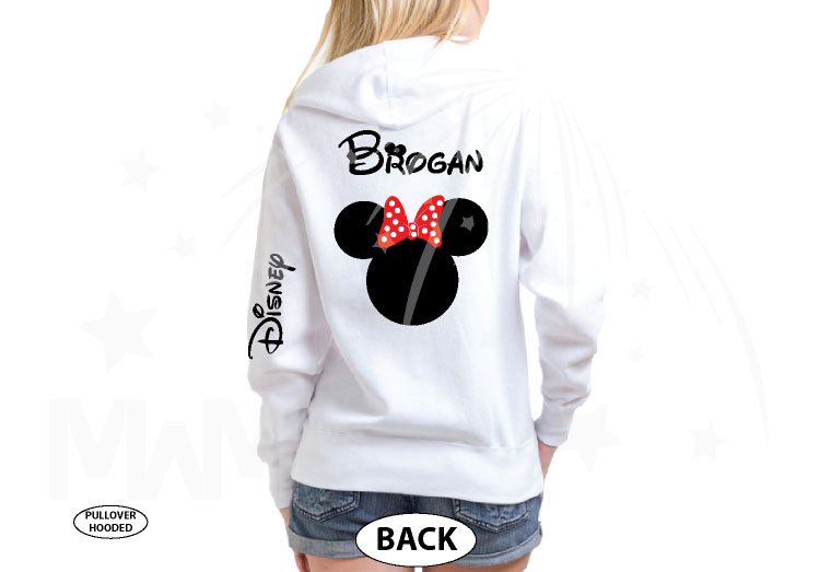Disney Minnie Mouse Red Polka Dot Cute Bow Shirt With Custom Name married with mickey white hoodie