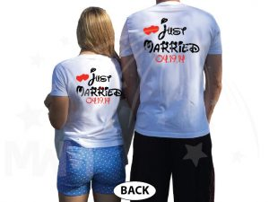 Just Married Little Mickey Minnie Mouse Kiss Custom Wedding Date married with mickey white tshirts