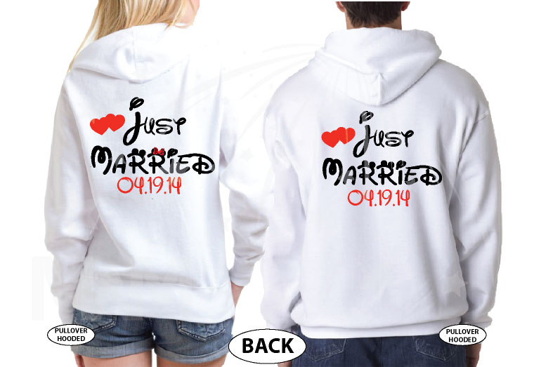 Just Married Little Mickey Minnie Mouse Kiss Custom Wedding Date married with mickey white hoodies