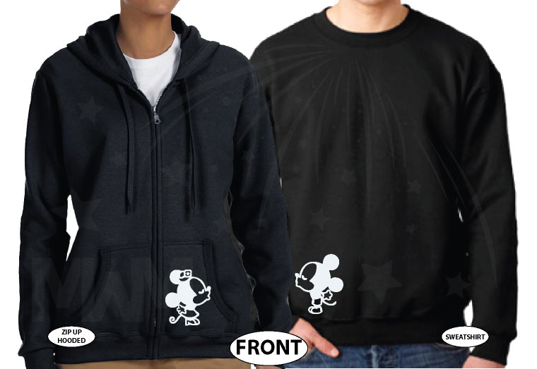 Just Married Little Mickey Minnie Mouse Kiss Custom Wedding Date married with mickey black hoodies