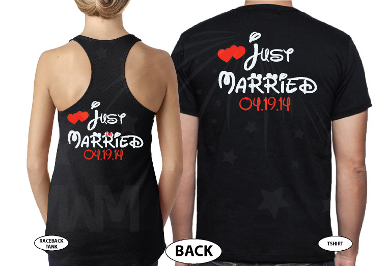 Just Married Little Mickey Minnie Mouse Kiss Custom Wedding Date married with mickey black tank and tee
