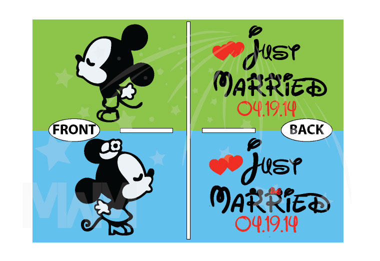 Just Married Little Mickey Minnie Mouse Kiss Custom Wedding Date married with mickey