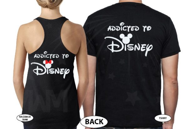 Cute Addicted To Disney Mickey Minnie Heads Minnie Bow married with mickey black tee and tank