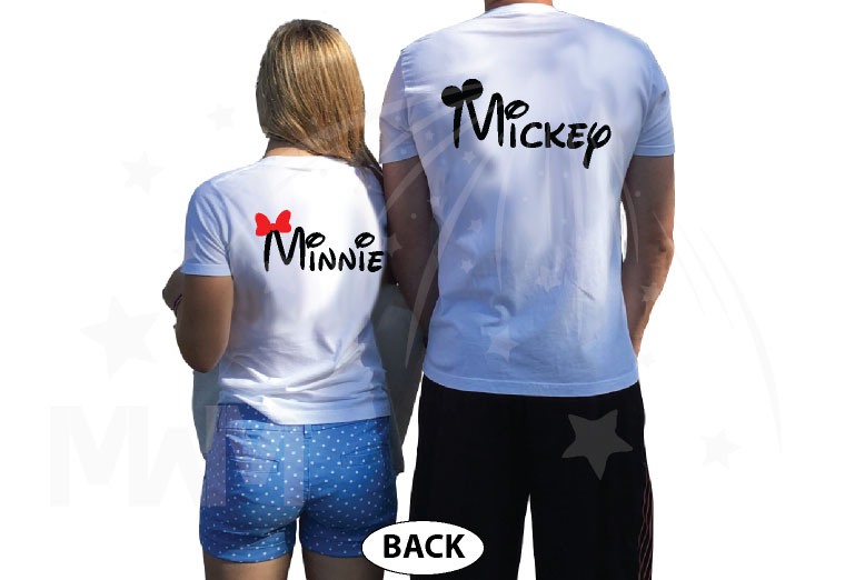 Mickey Mouse, Minnie Mouse Red Bow, Cute Kissing married with mickey white tshirts