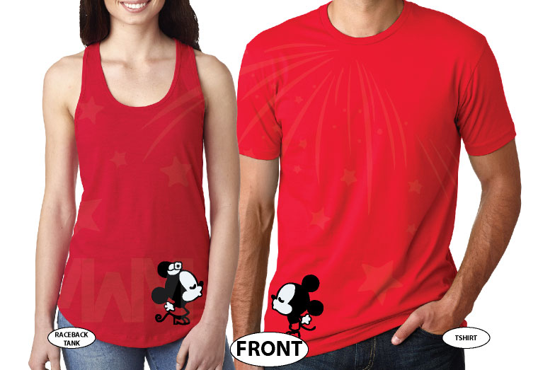 Mickey Mouse, Minnie Mouse Red Bow, Cute Kissing married with mickey red tee and tank