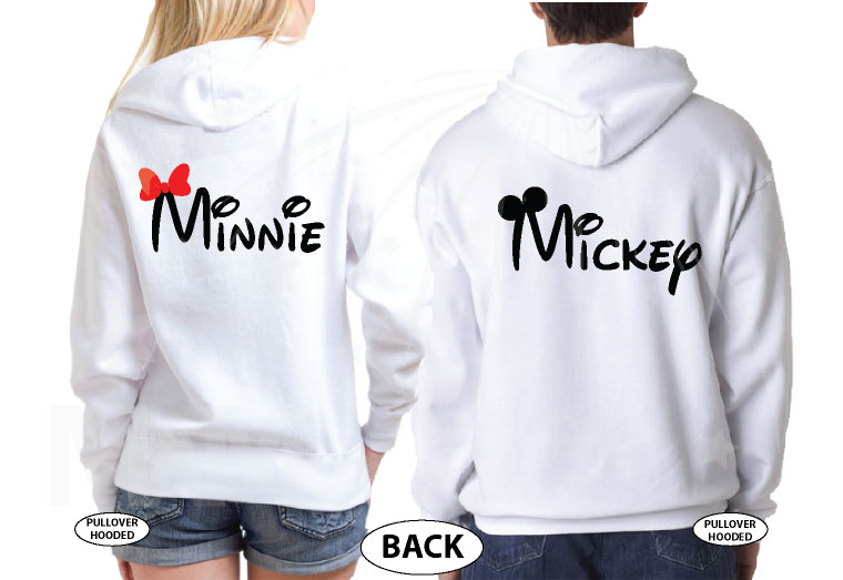 Mickey Mouse, Minnie Mouse Red Bow, Cute Kissing married with mickey white sweaters