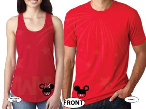 Mickey Minnie Mouse Heads I'm His Princess I'm Her Prince married with mickey red tank and tee