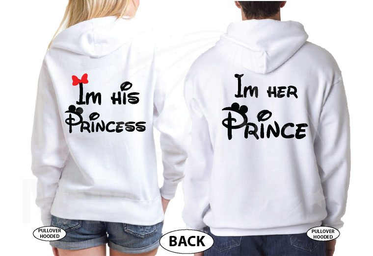 Mickey Minnie Mouse Heads I'm His Princess I'm Her Prince married with mickey white sweaters