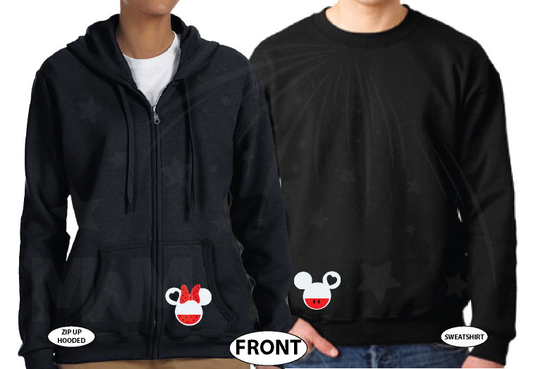 Mickey Minnie Mouse Heads I'm His Princess I'm Her Prince married with mickey black sweaters
