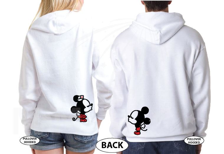 Little Mickey Minnie Mouse Cute Kiss Back Design Only married with mickey white hoodies