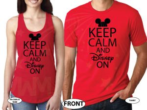 Cute Keep Calm And Disney On married with mickey red tank and tee