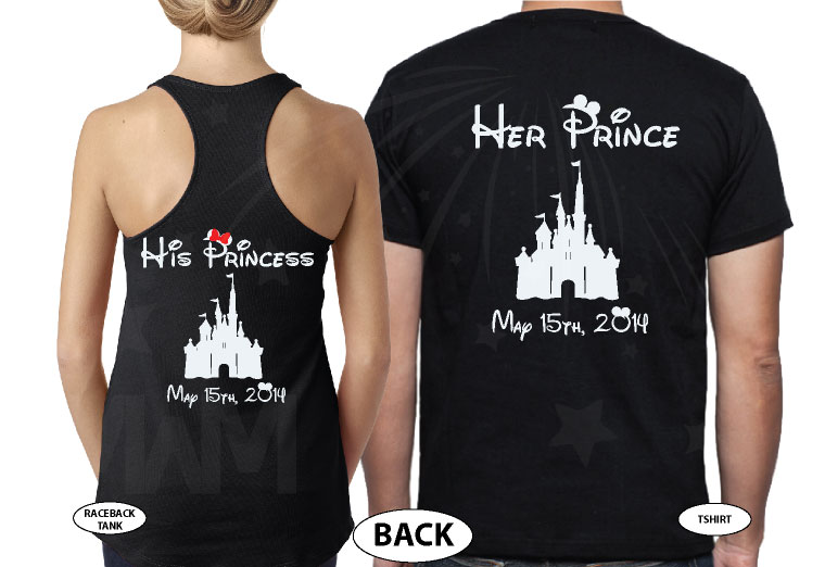 Soulmate His Princess Her Prince Disney Castle Custom Wedding Date married with mickey black tee and tank
