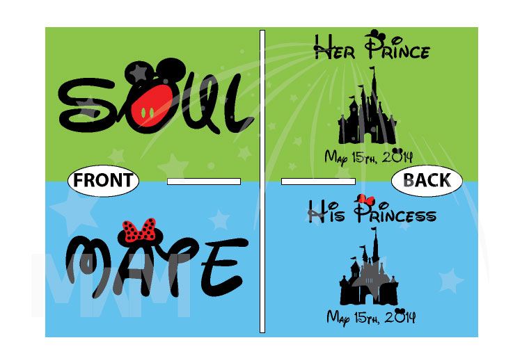 Soulmate His Princess Her Prince Disney Castle Custom Wedding Date married with mickey