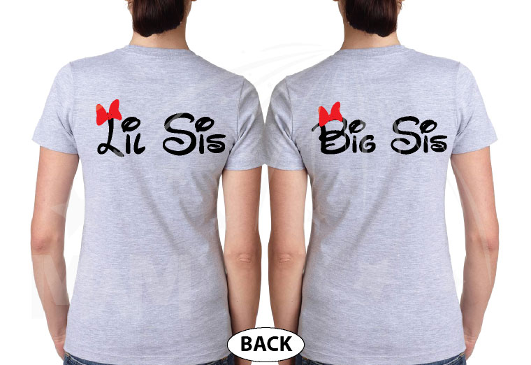 Big Sis Lil Sis Disney Family Shirts With Custom Names married with mickey grey tshirts