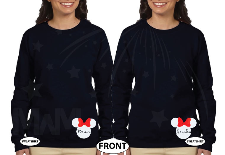 Big Sis Lil Sis Disney Family Shirts With Custom Names married with mickey black sweaters