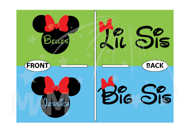 Big Sis Lil Sis Disney Family Shirts With Custom Names married with mickey