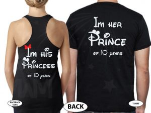 Im Her Prince Im His Princess of Years Anniversary Gift With Names married with mickey black tee and tank