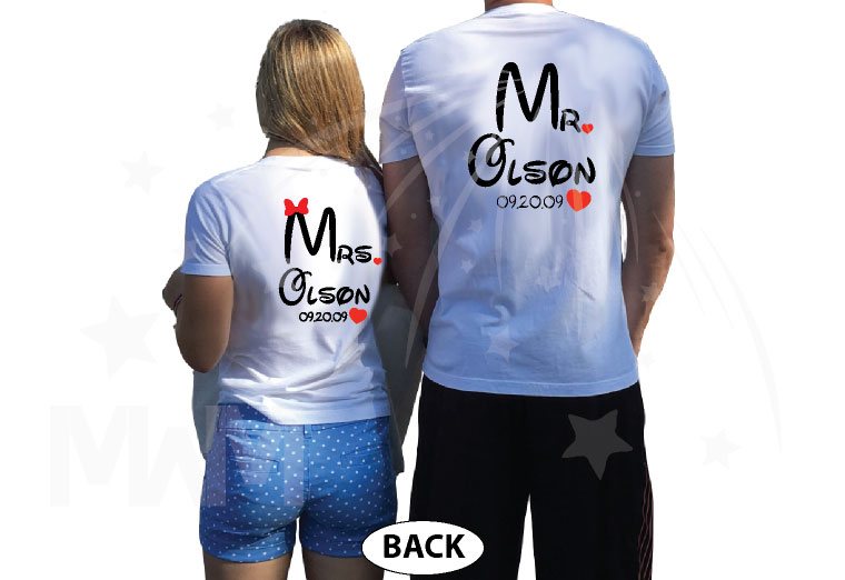 Mr Mrs Cute Hearts Initials Last Name Wedding Date Disney Font married with mickey white tshirts