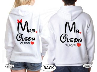 Mr Mrs Cute Hearts Initials Last Name Wedding Date Disney Font married with mickey white sweatshirts