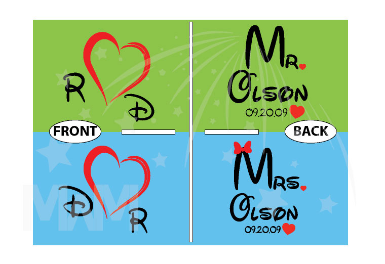 Mr Mrs Cute Hearts Initials Last Name Wedding Date Disney Font married with mickey
