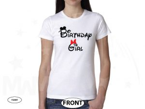 Birthday Girl Minnie Mouse Cute Red Bow On Shirt married with mickey white tshirt