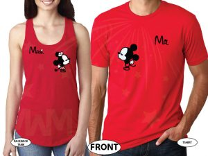 Mr Mrs Little Mickey Minnie Mouse Kiss His Princess Her Princess Disney Castle Wedding Date married with mickey red tank and tee
