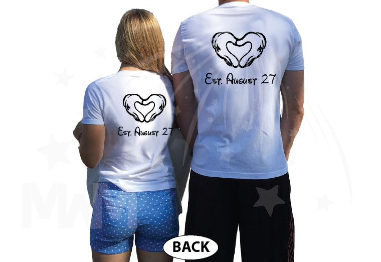 Mrs Mr Wedding Date Mickey's Hands In Heart Shape married with mickey white tshirts