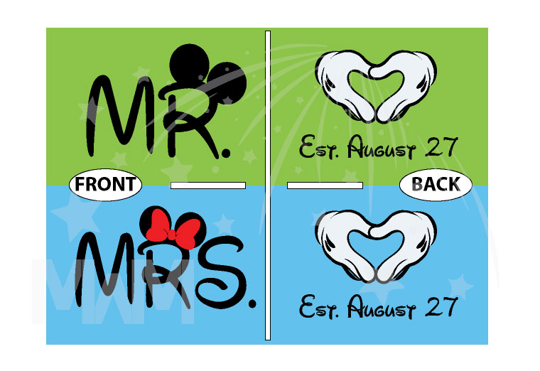Mrs Mr Wedding Date Mickey's Hands In Heart Shape married with mickey