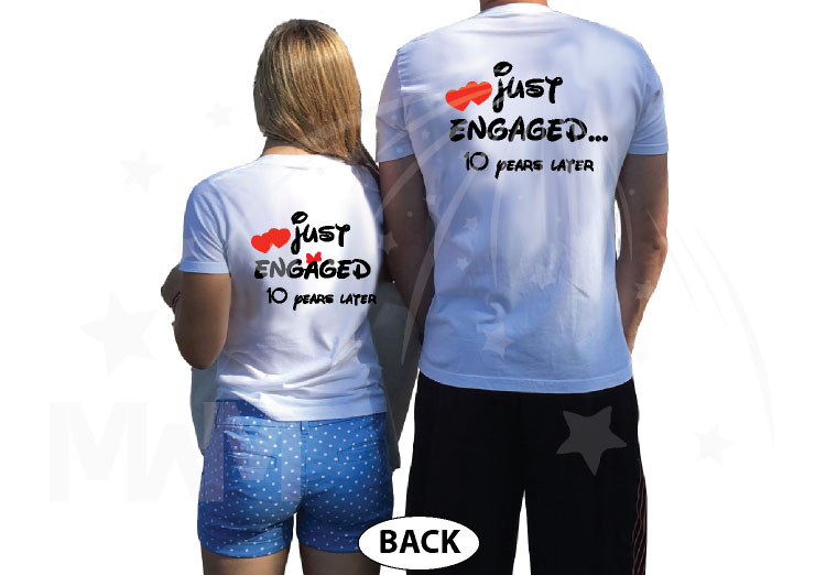 Disney Kissing Mickey Minnie Mouse Just Engaged.. 10 years later married with mickey white tshirts